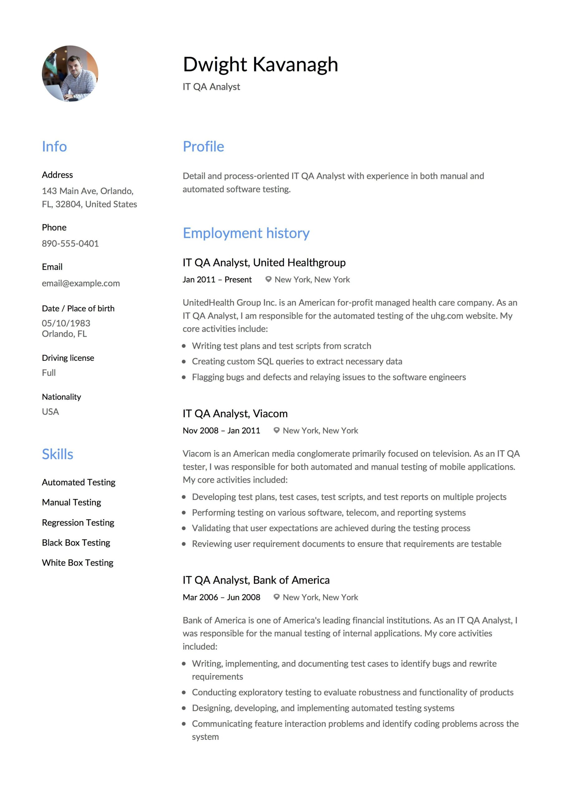 it qa analyst resume example examples template administrative sample salesforce Resume Administrative Analyst Resume Sample