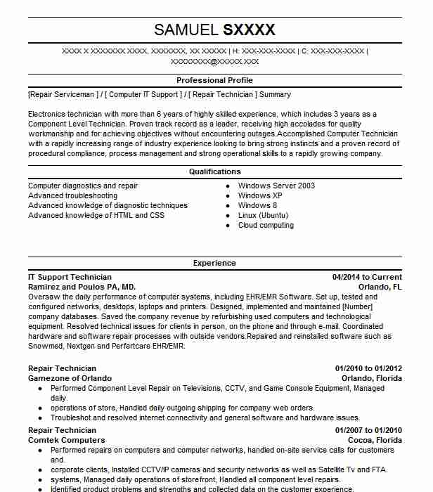it support technician resume example resumes livecareer supports latest format upwork Resume It Supports Technician Resume