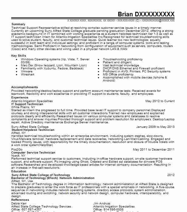 it support technician resume example resumes livecareer supports technical lead Resume It Supports Technician Resume