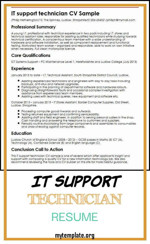 it support technician resume free templates supports of best cv sample myperfectcv pin Resume It Supports Technician Resume