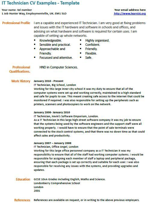 it technician cv example examples resume free samples housekeeping supervisor Resume Technician Resume Example