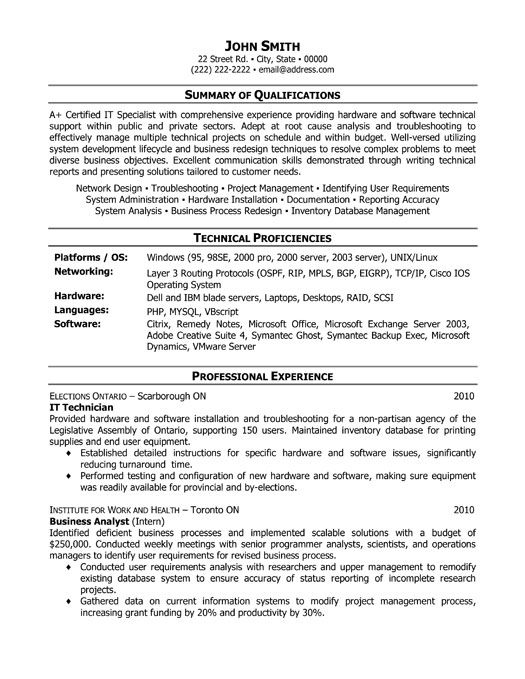 it technician resume template premium samples example professional examples functional Resume It Professional Resume Samples