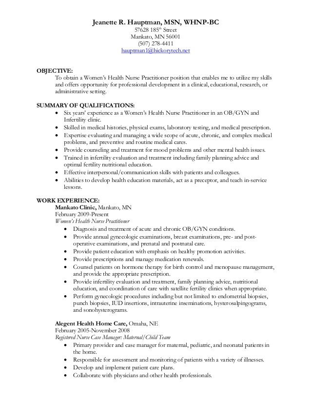 jeanette hauptman whnp resume primary care nurse practitioner paint chemist strong cover Resume Primary Care Nurse Practitioner Resume