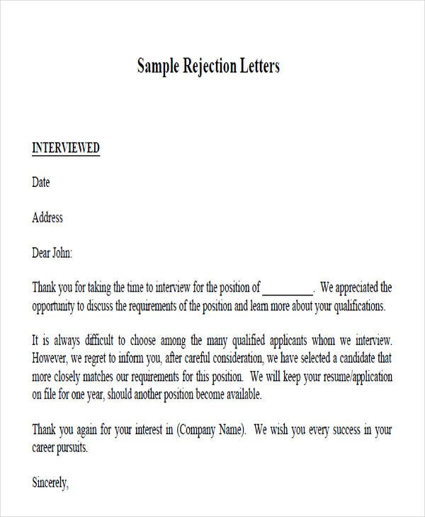 job application rejection letters templates for the applicants free word pdf format Resume Resume Rejection Letter Template