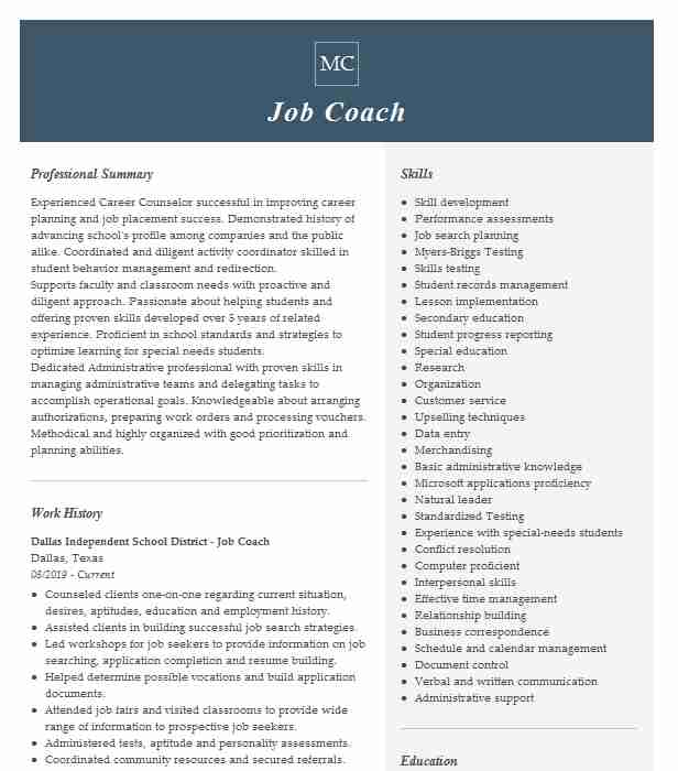 job coach resume example resumes livecareer template for coaching good acting build free Resume Resume Template For Coaching Job