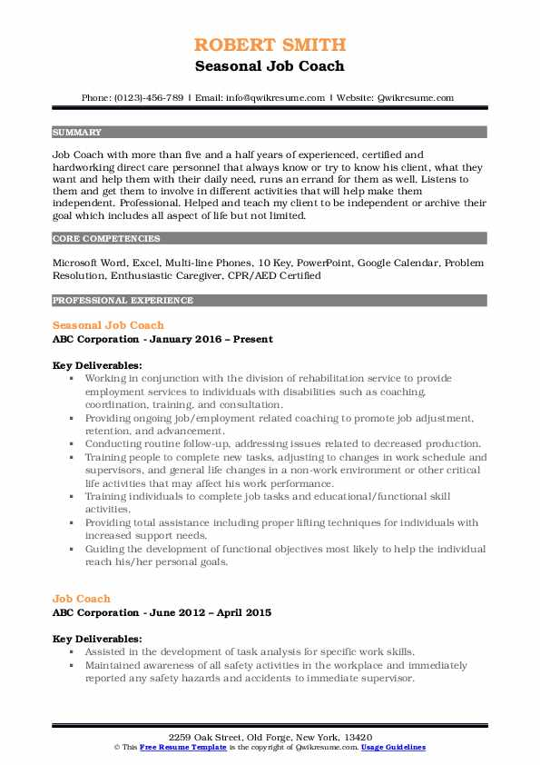 job coach resume samples qwikresume template for coaching pdf high school kid objective Resume Resume Template For Coaching Job