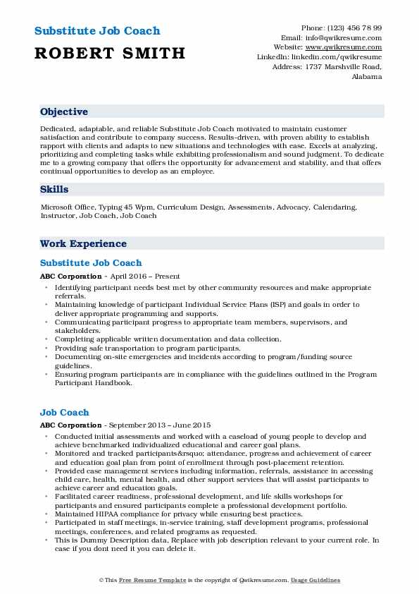 job coach resume samples qwikresume template for coaching pdf objective examples Resume Resume Template For Coaching Job