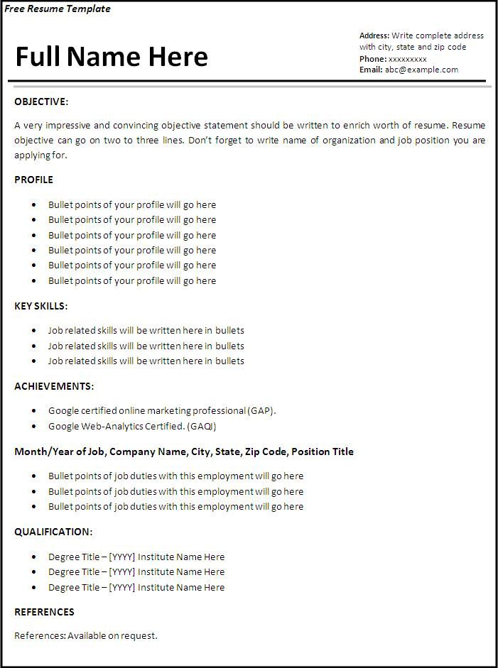 job resume template free word templates first format examples professional hybrid Resume Professional Job Resume Template