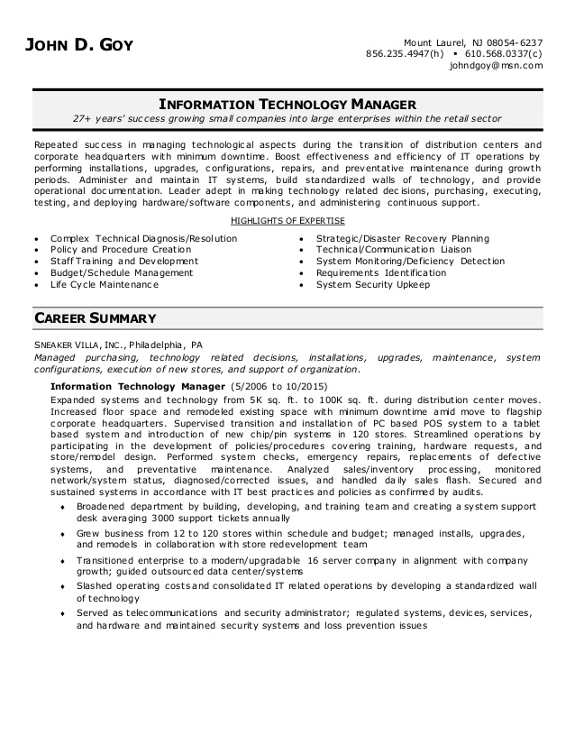 john goy information technology manager resume summary skills for security officer Resume Information Technology Summary Resume