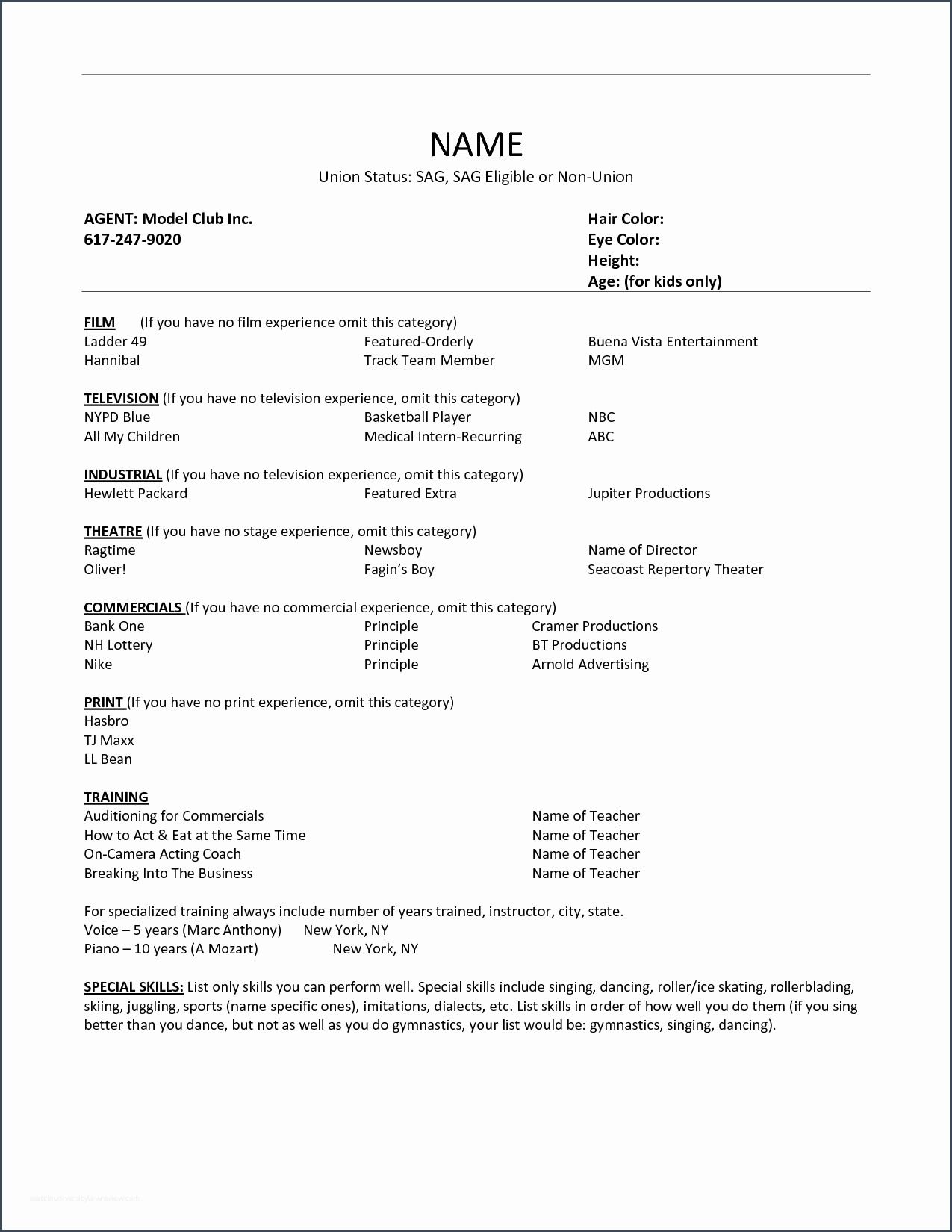 kids acting resume best examples for audition without experience human resources manager Resume Resume For Acting Audition Without Experience