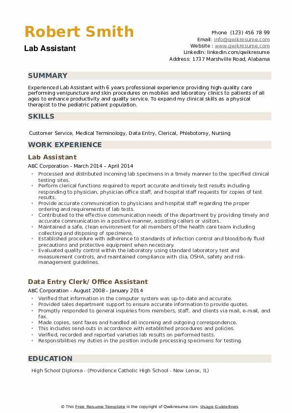 lab assistant resume samples qwikresume entry level pdf kelley template warehouse copy Resume Entry Level Lab Assistant Resume