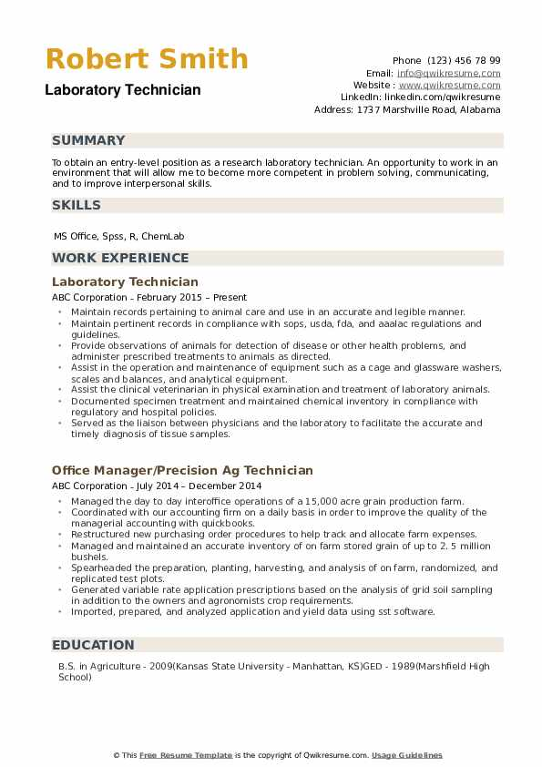 laboratory technician resume samples qwikresume entry level lab assistant pdf field Resume Entry Level Lab Assistant Resume