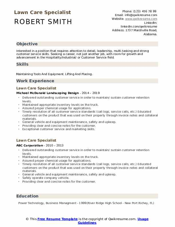 lawn care specialist resume samples qwikresume sample for worker pdf azure engineer types Resume Sample Resume For Lawn Care Worker