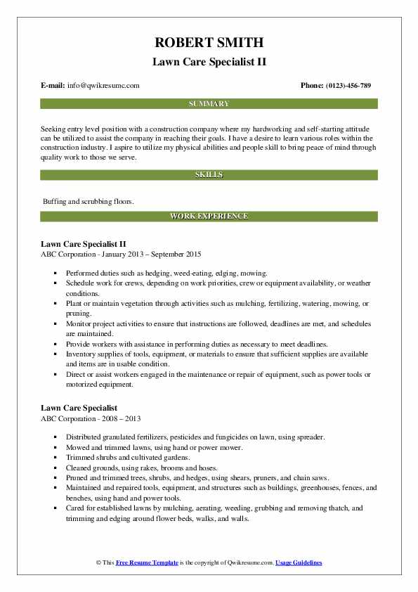 lawn care specialist resume samples qwikresume sample for worker pdf create free without Resume Sample Resume For Lawn Care Worker