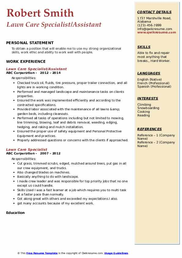 lawn care specialist resume samples qwikresume sample for worker pdf summary or objective Resume Sample Resume For Lawn Care Worker