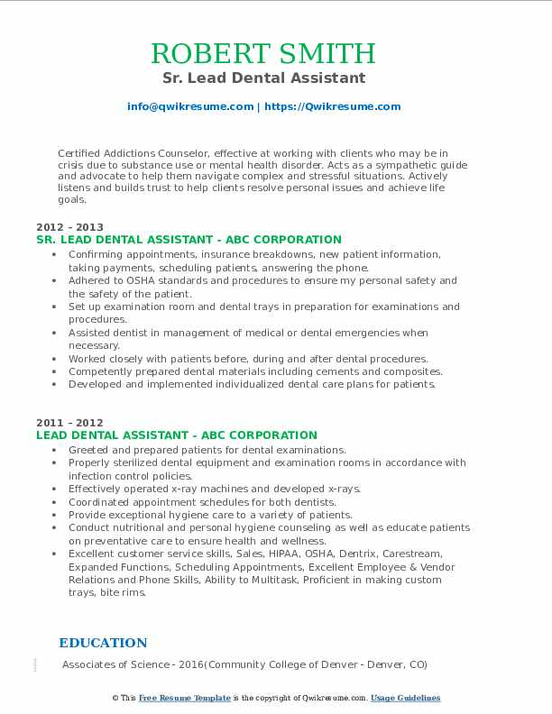 lead dental assistant resume samples qwikresume good objective for pdf free design ice Resume Good Objective For Resume For Dental Assistant