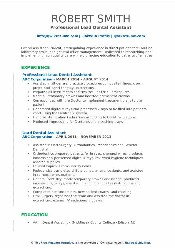 lead dental assistant resume samples qwikresume template pdf include performance review Resume Dental Assistant Resume Template