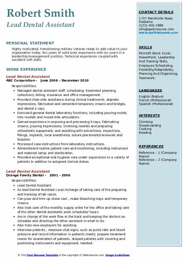 lead dental assistant resume samples qwikresume template pdf new grad lpn high school Resume Dental Assistant Resume Template