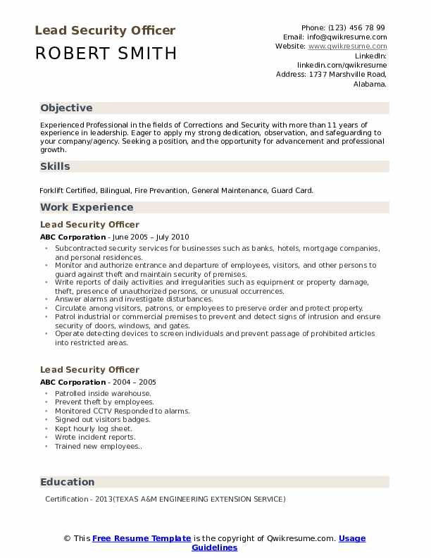 lead security officer resume samples qwikresume position pdf standard format for Resume Security Position Resume