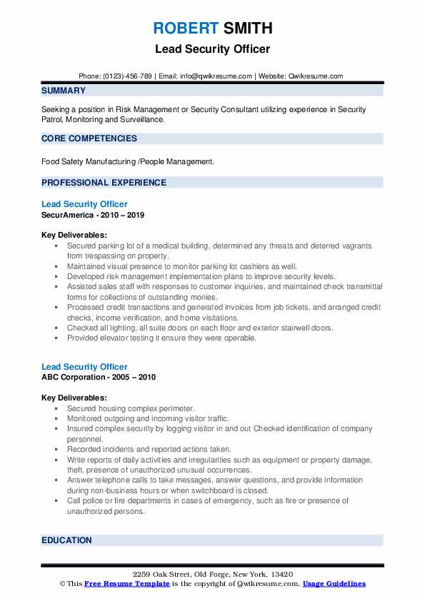 lead security officer resume samples qwikresume position pdf warehouse summary free Resume Security Position Resume