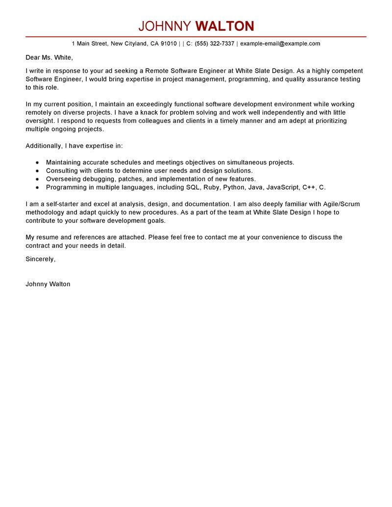 leading professional remote software engineer cover letter examples resources Resume Telecommute Resume Example