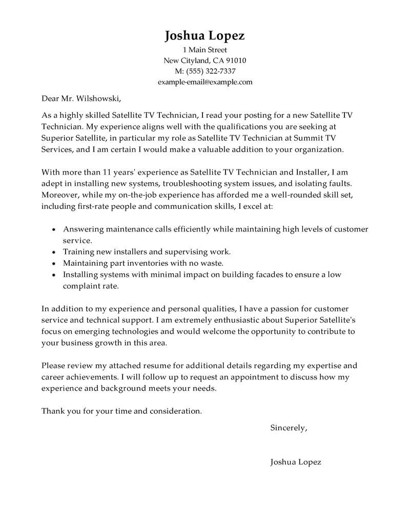 leading professional satellite tv technician installer cover letter examples resources Resume Satellite Installation Technician Resume
