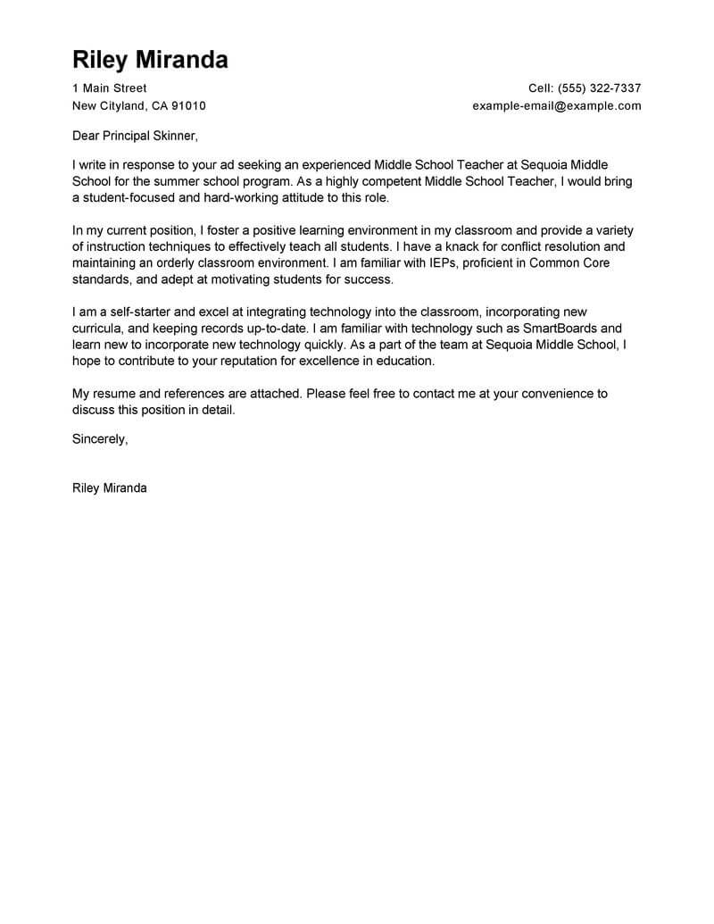 leading professional summer teacher cover letter examples resources myperfectresume for Resume Cover Letter For Teacher Resume