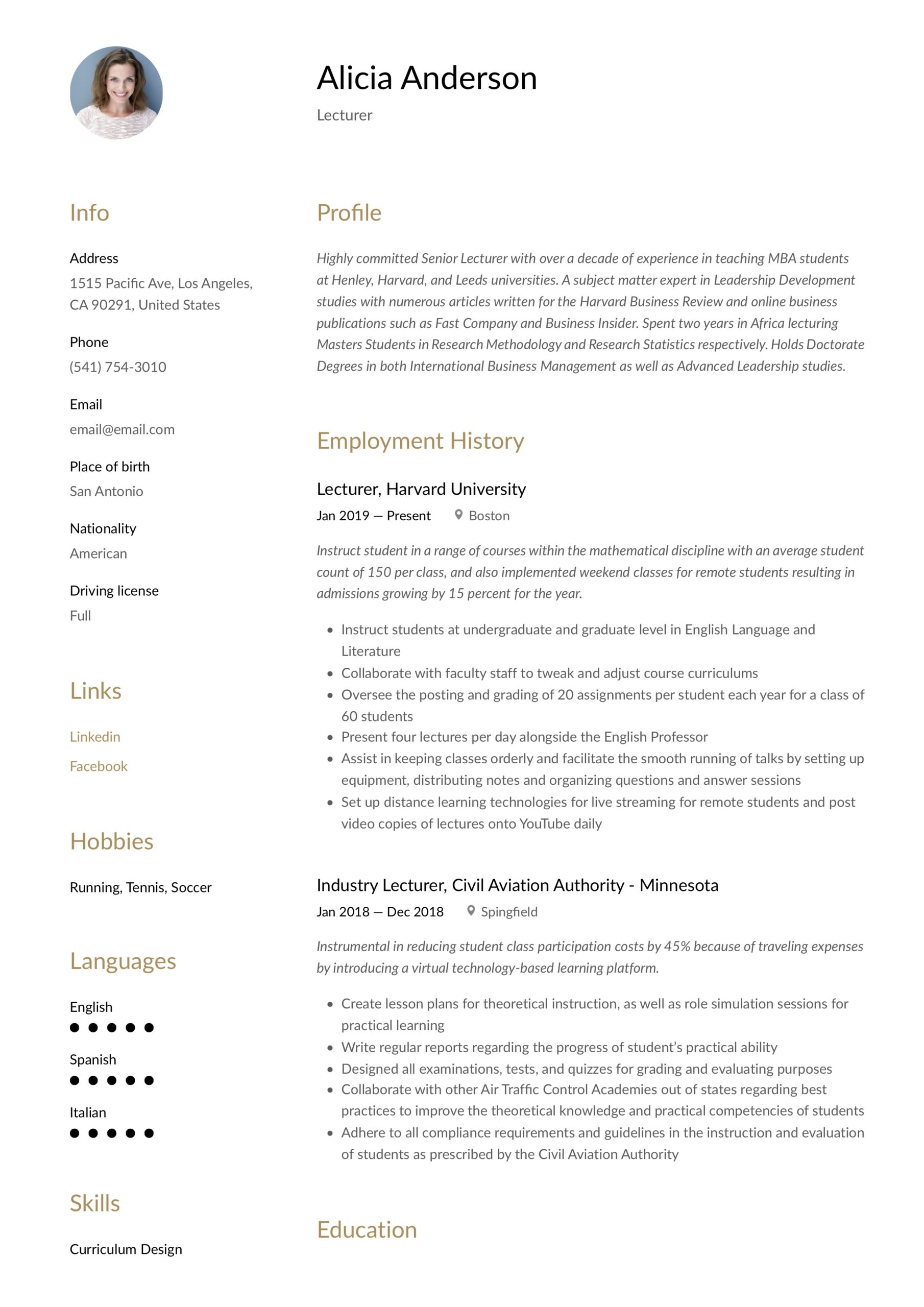 lecturer resume writing guide free examples college example eye catching templates fraud Resume College Lecturer Resume Example