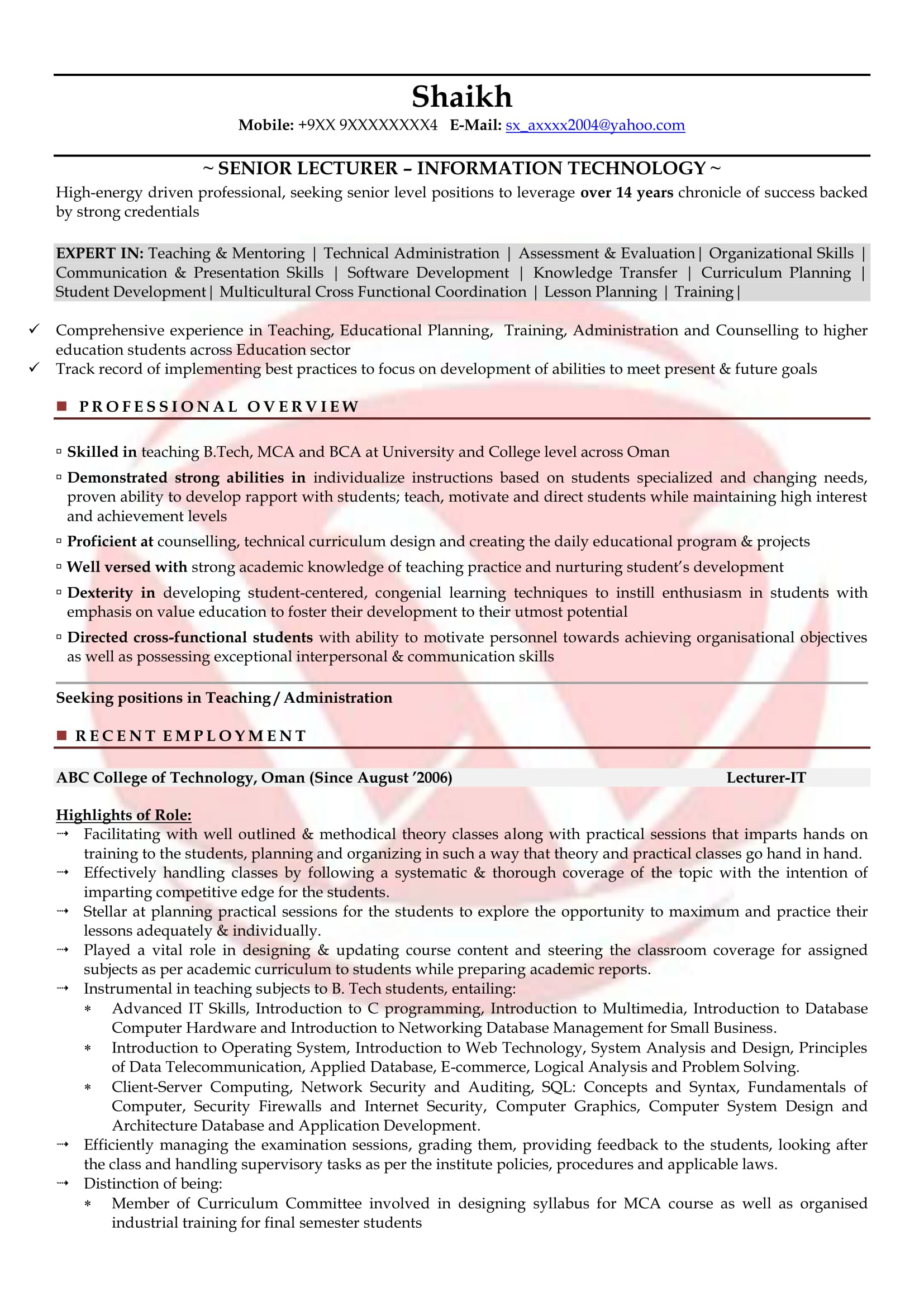 lecturer sample resumes resume format templates chemistry free for first time job seekers Resume Chemistry Lecturer Resume