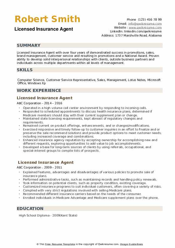 licensed insurance agent resume samples qwikresume examples for industry pdf another word Resume Resume Examples For Insurance Industry