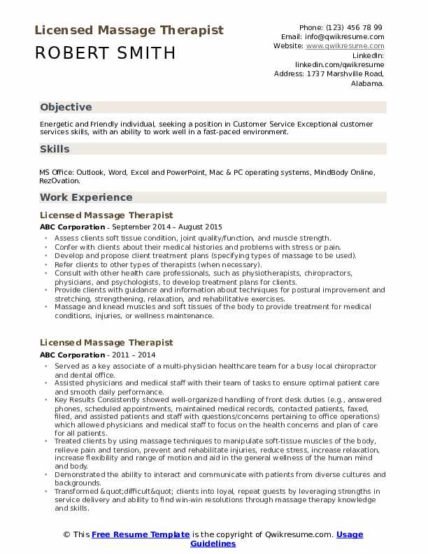 licensed massage therapist resume samples qwikresume objective pdf qlikview consultant Resume Massage Therapist Resume Objective