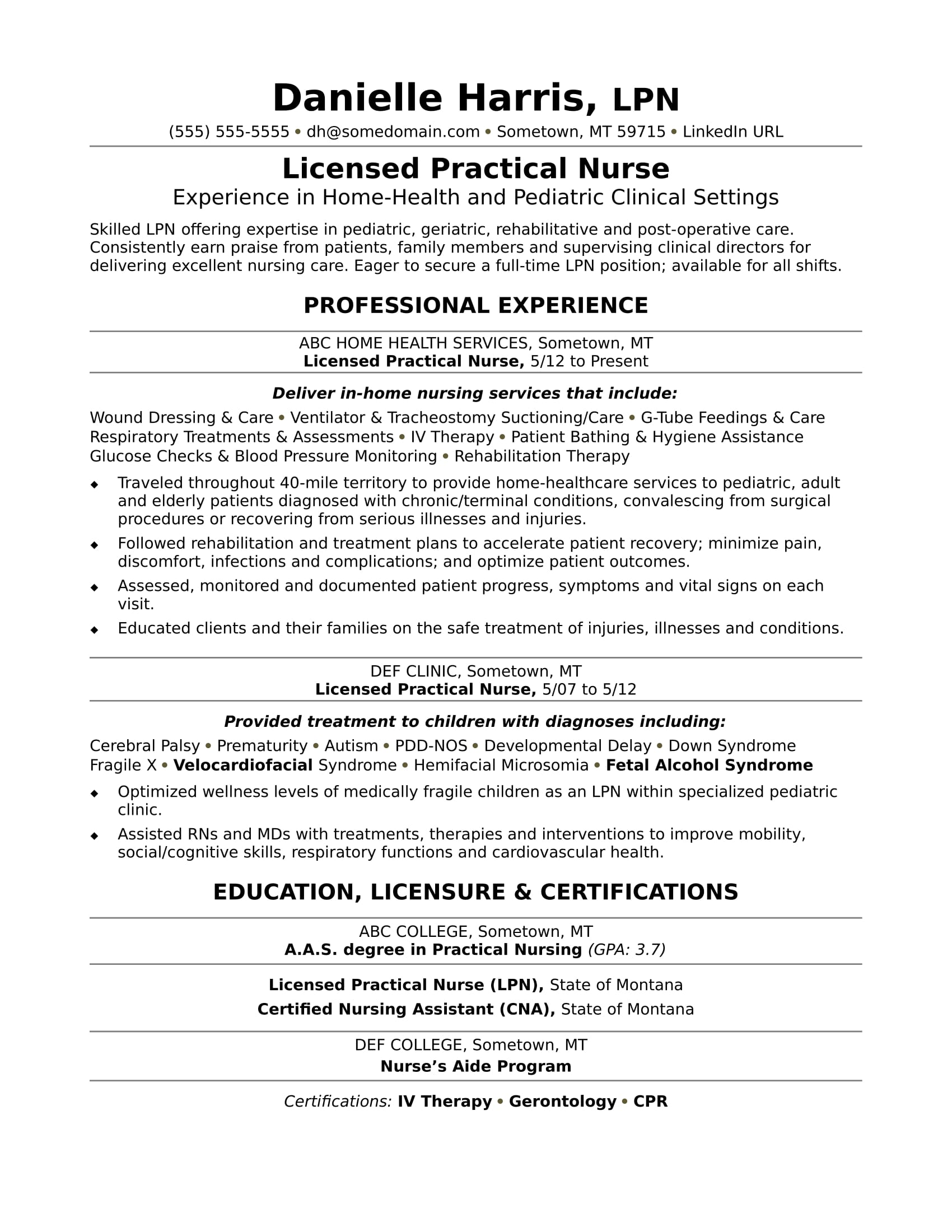 licensed practical nurse resume sample monster rotational program operations manager Resume Licensed Practical Nurse Resume