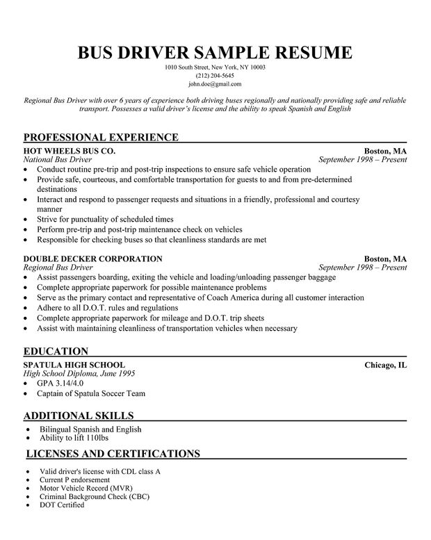 limousine driver resume taxi sample good examples school bus entry level retail writing Resume School Bus Driver Resume