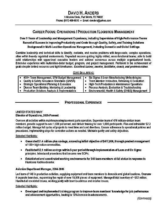 logistics resume example operations production military free builder for veterans Resume Free Resume Builder For Veterans