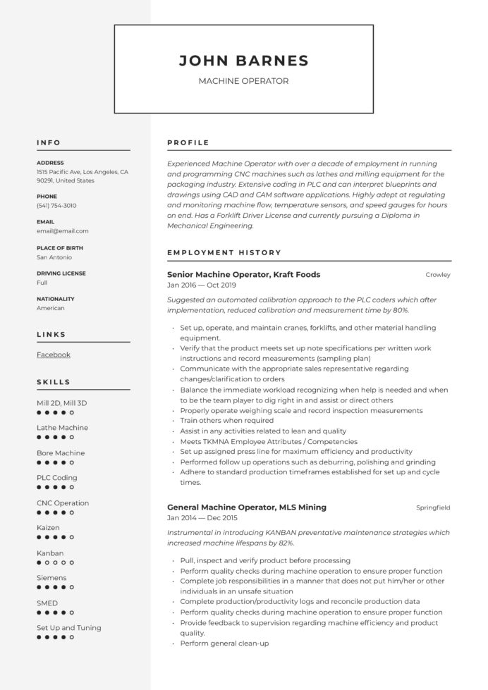 machine operator resume writing guide templates vmc sample payday loan examples analyst Resume Vmc Operator Resume Sample