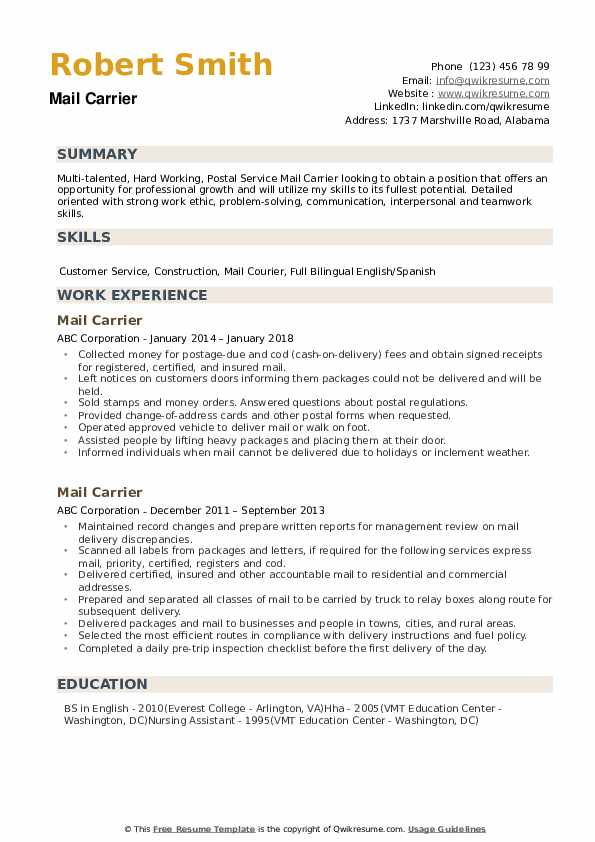 mail carrier resume samples qwikresume strong work ethic pdf machinist examples tourism Resume Strong Work Ethic Resume