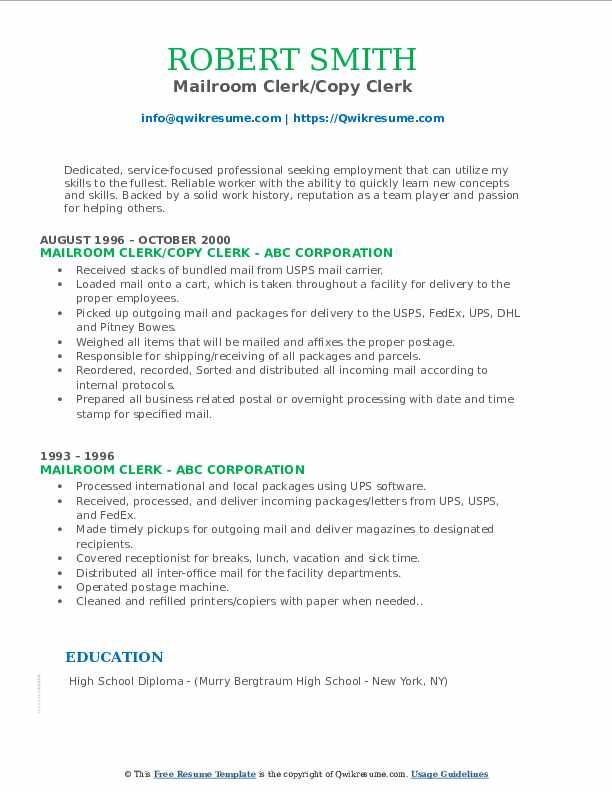 mailroom clerk resume samples qwikresume examples pdf best teacher ever shipping design Resume Mailroom Resume Examples