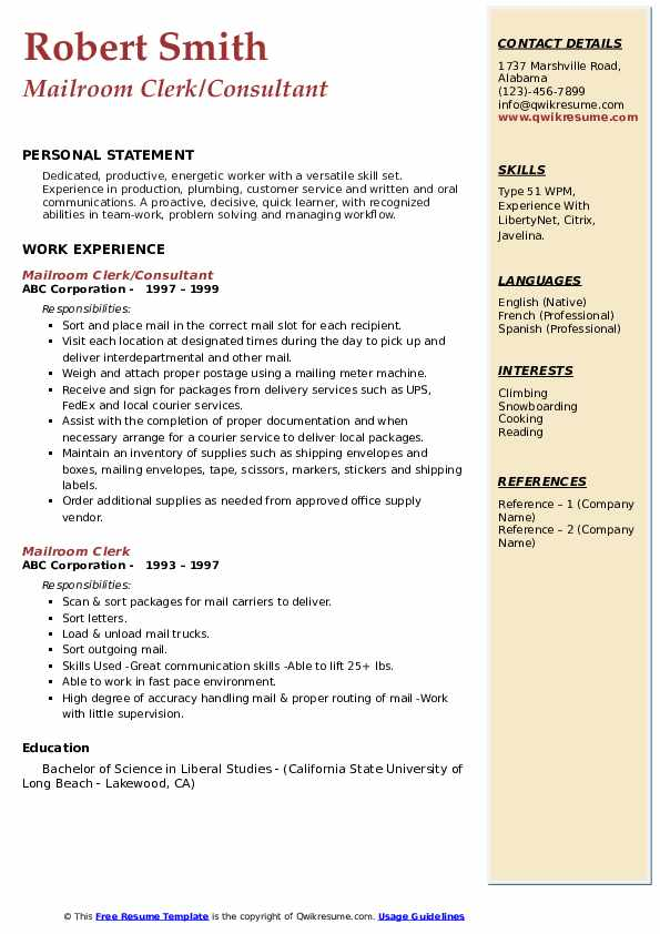 mailroom clerk resume samples qwikresume examples pdf clerical experience on sample free Resume Mailroom Resume Examples
