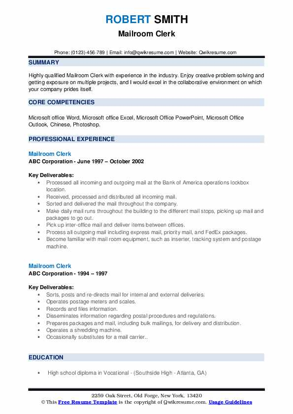 mailroom clerk resume samples qwikresume examples pdf data structures and algorithms best Resume Mailroom Resume Examples