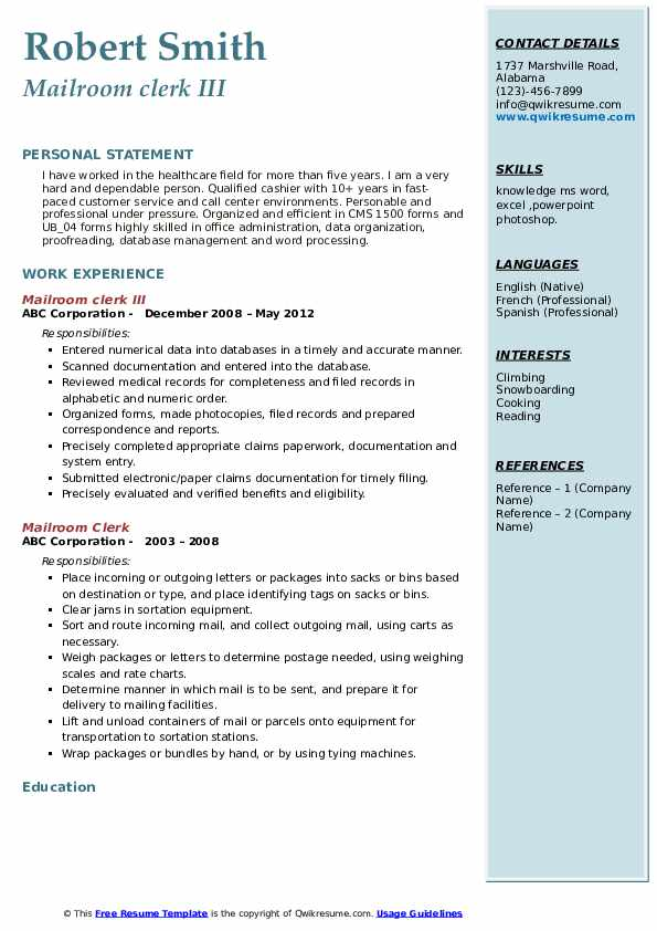 mailroom clerk resume samples qwikresume examples pdf design modern hobbies for engineers Resume Mailroom Resume Examples