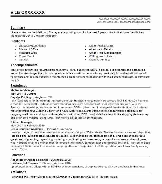mailroom manager resume example mercury print and mail south easton examples ats software Resume Mailroom Resume Examples