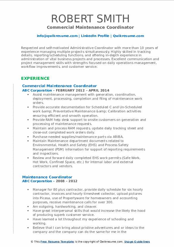 maintenance coordinator resume samples qwikresume job description pdf communication typo Resume Maintenance Coordinator Job Description Resume