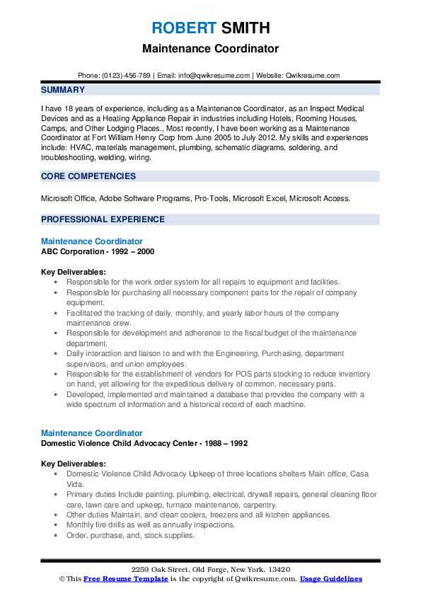 maintenance coordinator resume samples qwikresume job description pdf corporate Resume Maintenance Coordinator Job Description Resume