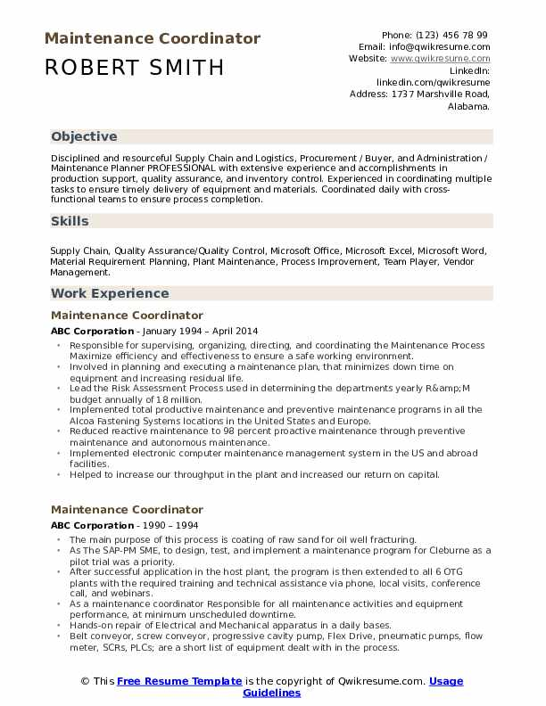 maintenance coordinator resume samples qwikresume job description pdf typo on process Resume Maintenance Coordinator Job Description Resume