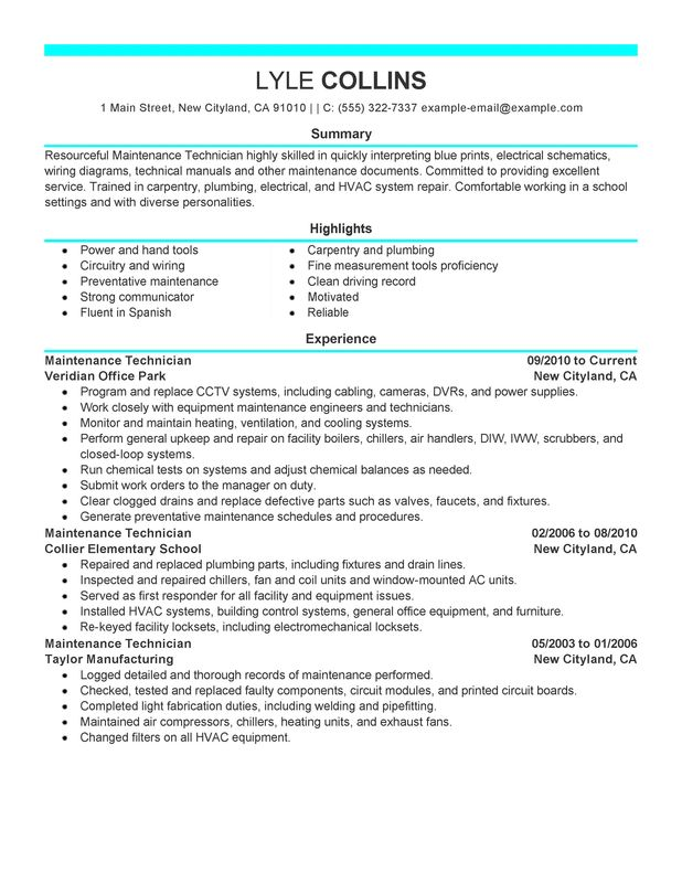 maintenance technician resume examples created by pros myperfectresume sample and Resume Maintenance Technician Resume Sample