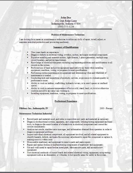maintenance technician resume occupational examples samples free edit with word for jobs Resume Resume Examples For Maintenance Jobs
