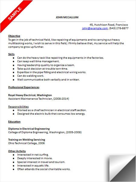 maintenance technician resume sample examples templates microsoft word action words for Resume Maintenance Technician Resume Sample