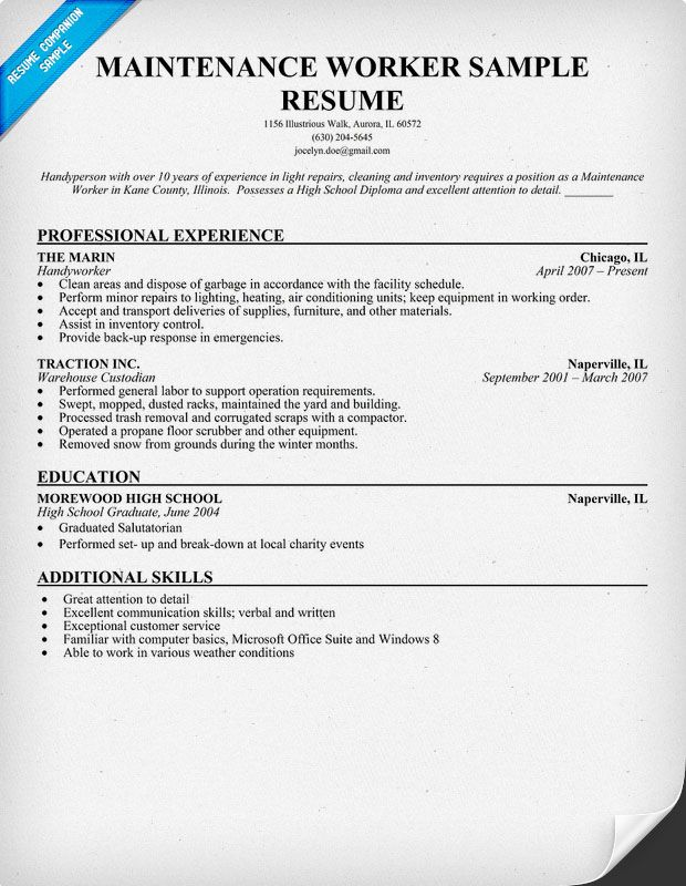 maintenance worker resume sample objective examples for jobs simple format 12th pass Resume Resume Examples For Maintenance Jobs