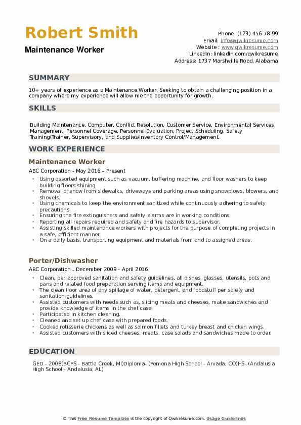 maintenance worker resume samples qwikresume examples for jobs pdf simple format 12th Resume Resume Examples For Maintenance Jobs