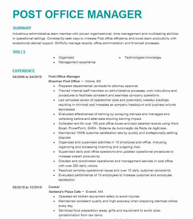 manager post office operations resume example postal service kingsley for job lftp Resume Resume For Post Office Job